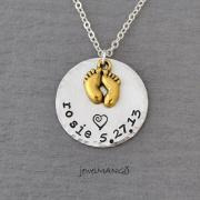Keepsake baby name birth necklace hand stamped baby necklace, mommy necklaces, mother keepsake, Perfect for new mom, golden baby feet, heart