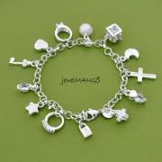 silver charm bracelet, cross, ring, star, key, moon, lock, ball, Silver Charm Jewelry,