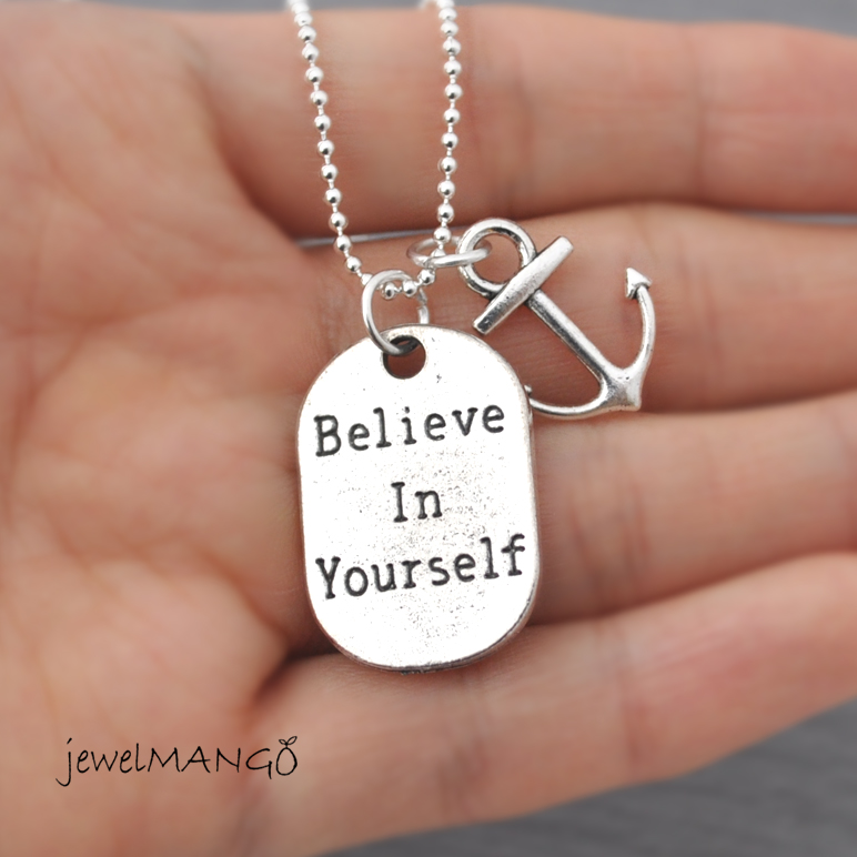 Believe in yourself long necklace modern minimalist self esteem believe in yourself long necklace modern minimalist self esteem dog tag jewelry nautical jewelry ball chain motivation anchor long solutioingenieria Image collections
