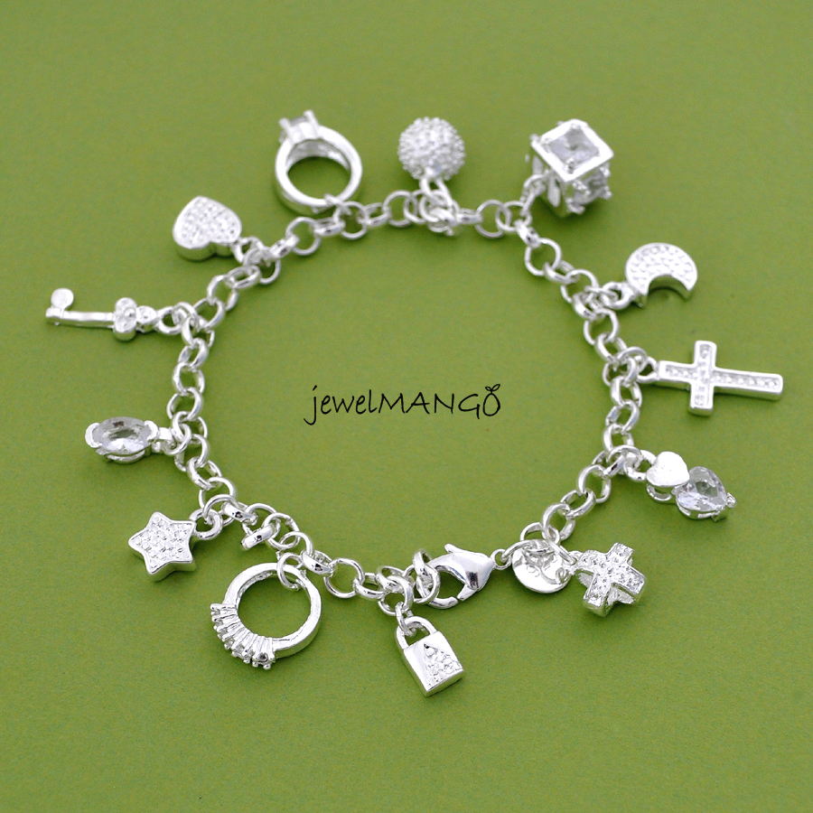 Silver Charm Bracelet, Cross, Ring, Star, Key, Moon, Lock