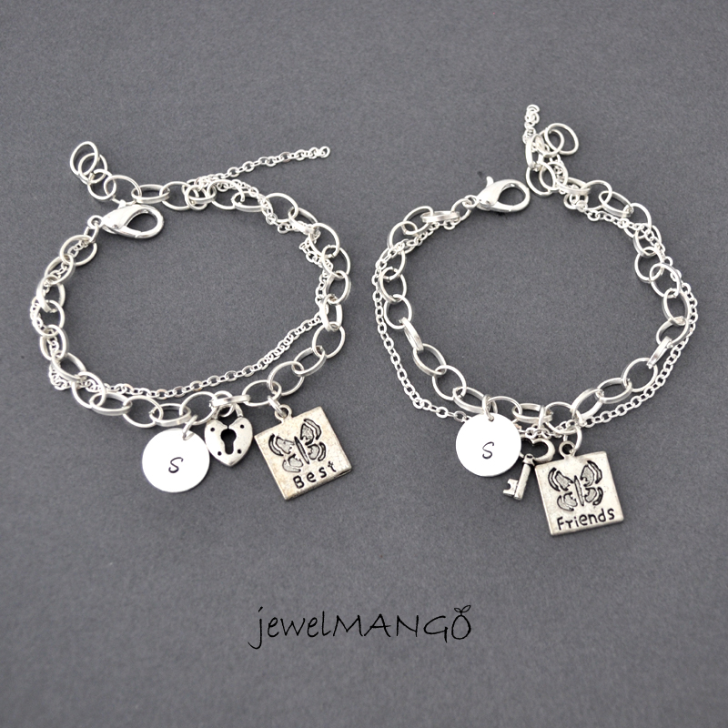 Best Friend Charm Bracelet: Best Friend Bracelet, Friendship Bracelet Set, Bff, Key