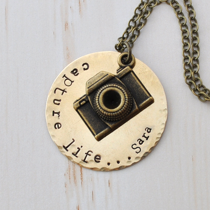 Personalized initial camera necklace, Capture Life, long necklace, photographer, monogram, hand stamped, custom necklace Bronze