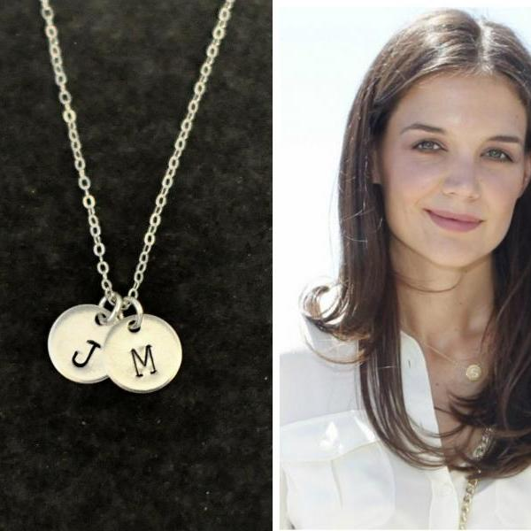 monogram jewelry, sterling Silver initial coin necklace, Personalized Silver disc necklace, Personalized Initial circle necklace, initial monogram