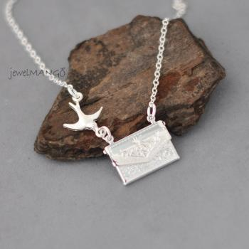 A secret message in an envelope, silver envelope necklace, bird with envelope necklace, silver bird charm, shiny silver charms, love letter